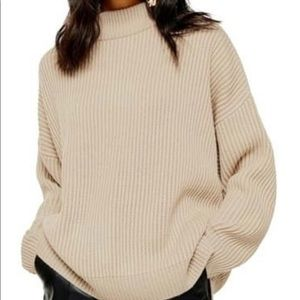 Topshop mock neck sweater in Oatmeal